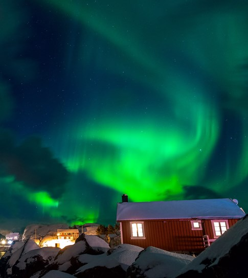 Northern Lights with red house, Norway