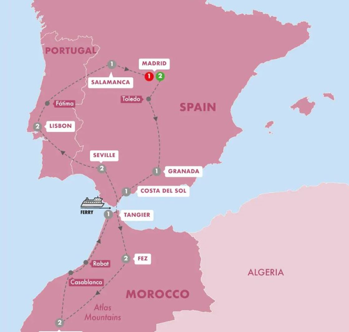 Detailed Map Of Spain Portugal And Morocco.Spain Morocco And Portugal Grand European Travel