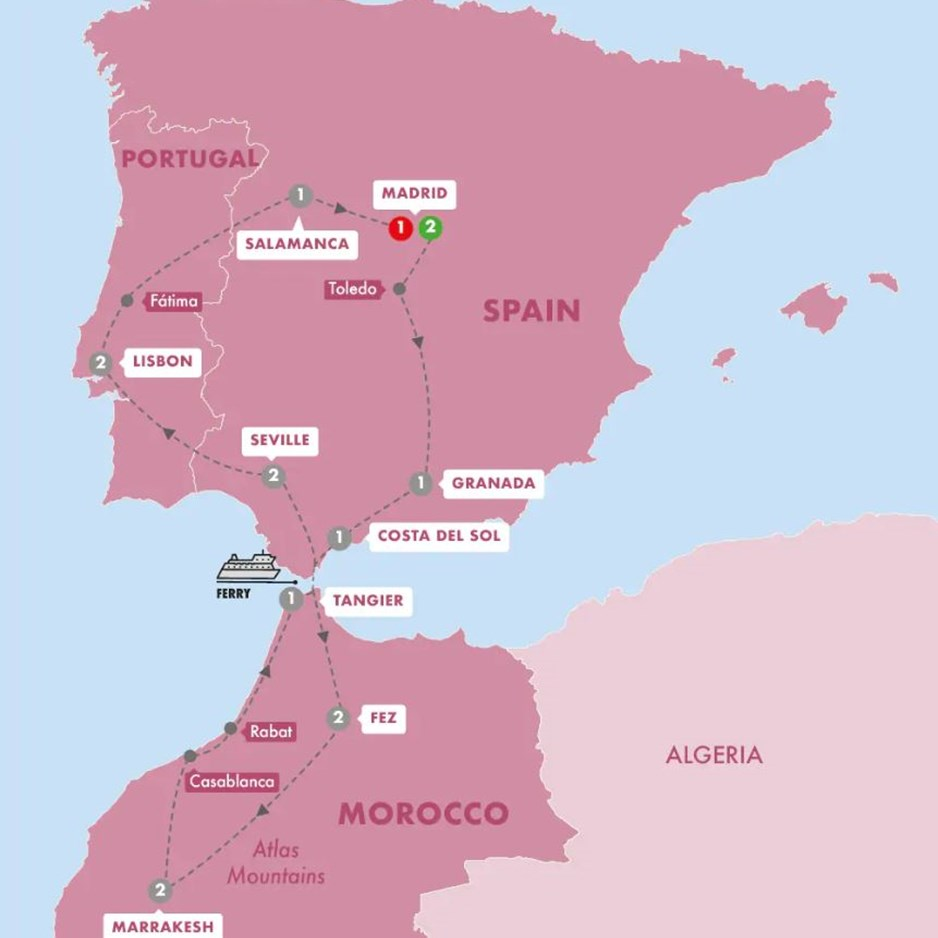 Map Of Spain Morocco.Spain Morocco Portugal