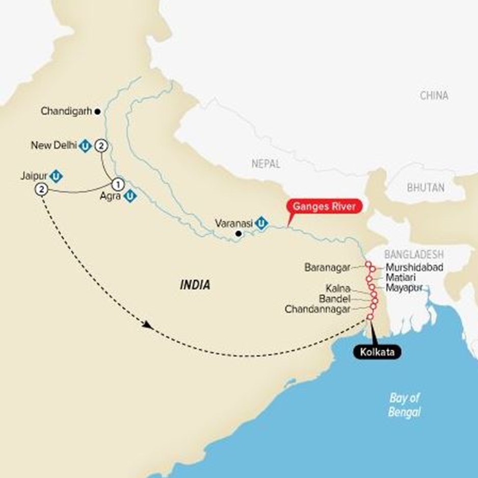 ITDK Indias Golden Triangle And The Sacred Ganges Map Uw 2020
