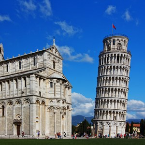 Pisa Cathedral Dome and Leaning Tower of Pisa in Tuscany, Italy