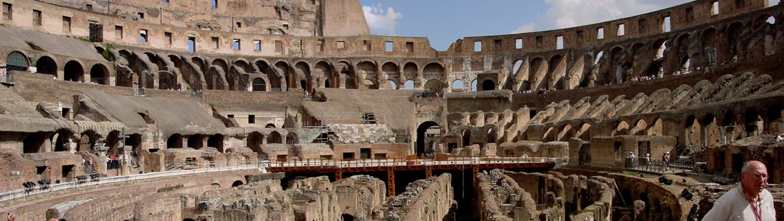 Inside View of Roman Colosseum in Rome, Italy