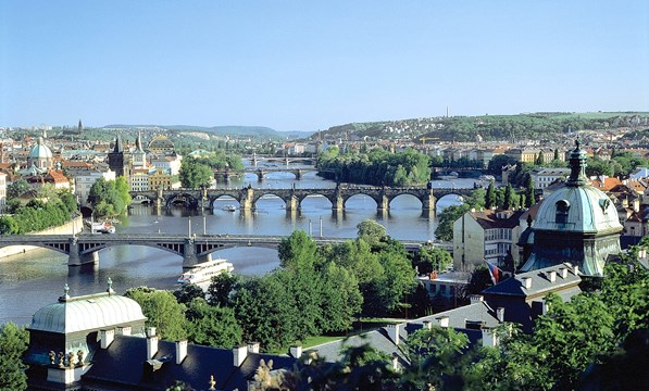Vltava River with bridge