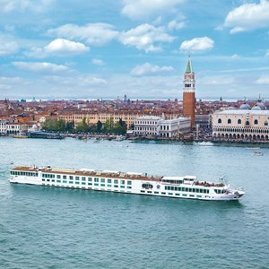 View of ship on river in Venice, Italy