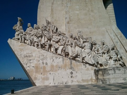 Close up view of Monument of the Discoveries, Lisbon, Portugal