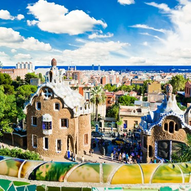 Overlooking Barcelona from Park Guell, Spain