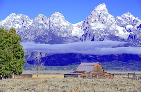 Grand Teton National Park with old barn, Wyoming