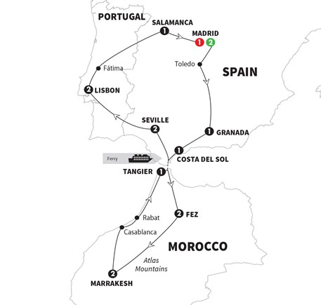 Spain Morocco And Portugal Grand European Travel - Portugal morocco map