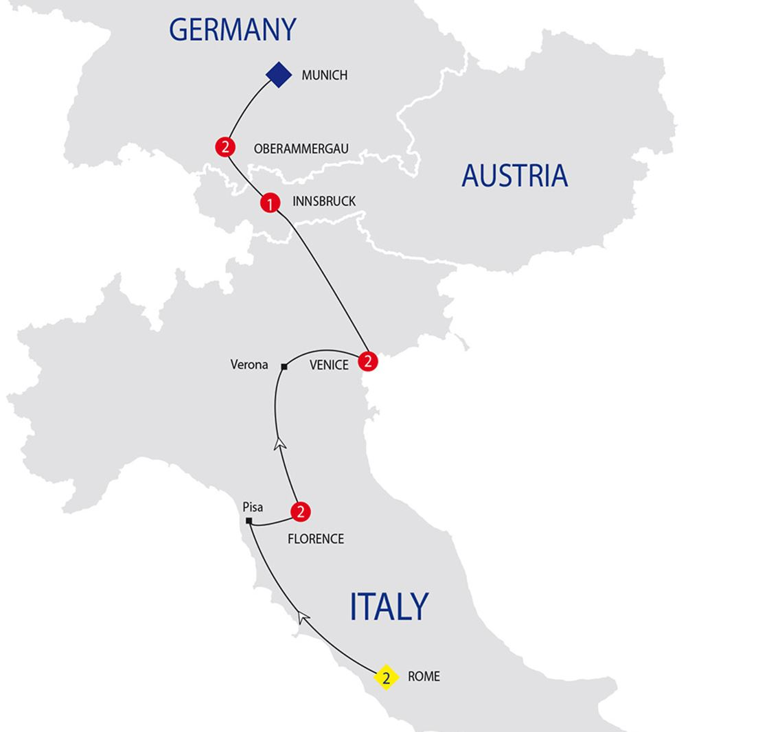 Oberammergau Germany Map.Jewels Of Italy With Oberammergau Summer 2020 Grand European Travel