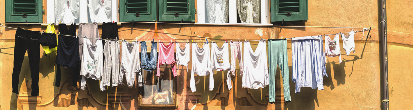 clothesline outside European home