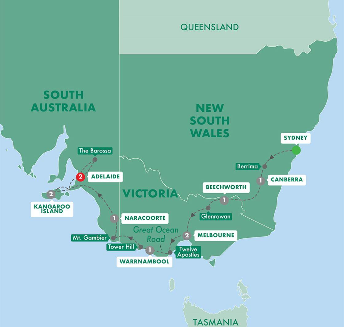 Kangaroo Island Australia Map.Tastes Of Southern Australia Grand European Travel