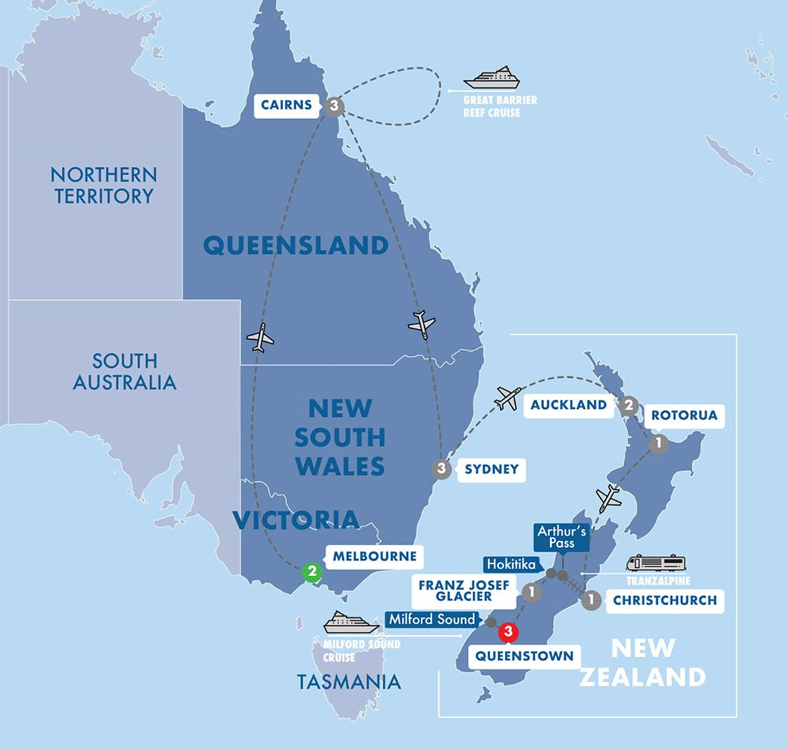 Map Of Australia Tasmania And New Zealand.Contrasts Of Australia New Zealand Tour Grand European Travel