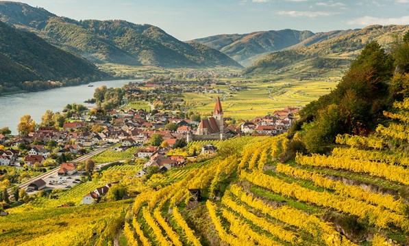 Aerial view of Wachau Valley and Danube River, Austria