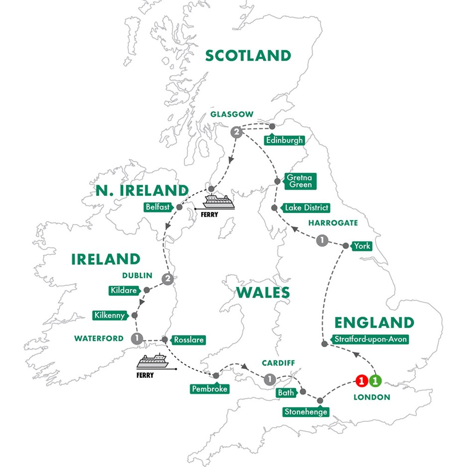 Map Of Ireland And Britain.Britain Ireland Highlights