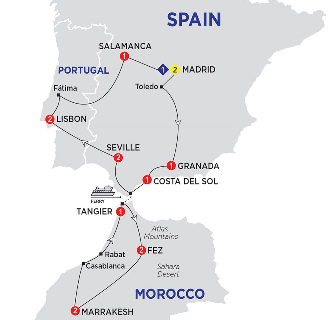 Detailed Map Of Spain Portugal And Morocco.Highlights Of Spain Morocco And Portugal Grand European Travel